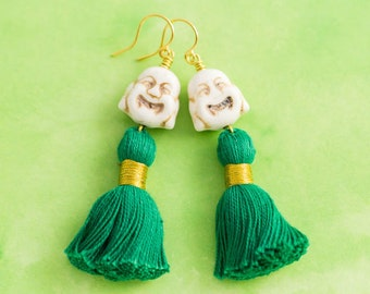 Buddha Tassel Earrings with Green Tassels and White Laughing Buddha Head Beads, Gold Plated Ear Wires, Buddha Jewelry