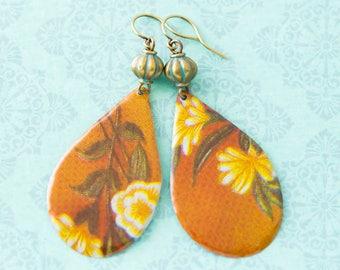 Large Dusty Rose Teardrop Earrings with Faux Verdigris Patina Antique Brass Beads, Boho Chic Earrings..