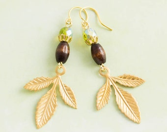 Gold and Green Leaf Earrings with Wooden and Glass Beads, Nature Jewelry, Nature Lovers Gift