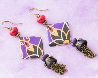 Gold, Purple and Red Art Deco Vintage Tin Earrings with Vintage Wood Bead Caps and Chain Tassels, Art Deco Jewelry..
