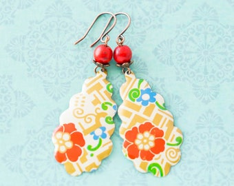 Colorful Japanese Style Flower Teardrop Earrings with Red Coral Beads, Antique Copper, Asian Jewelry..