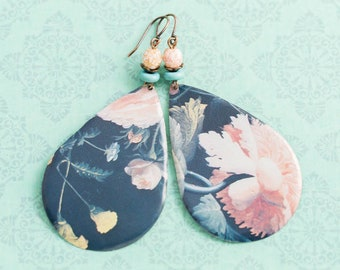 Large Teardrop Vintage Tin Floral Earrings with Dusty Pink and Turquoise Colored Beads and Antique Copper, Large Earrings, Tin Jewelry