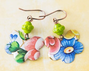 Colorful Vintage Tin Flower Earrings with Bright Green Czech Glass Beads, Floral Earrings, Antique Copper, Boho Chic Earrings.