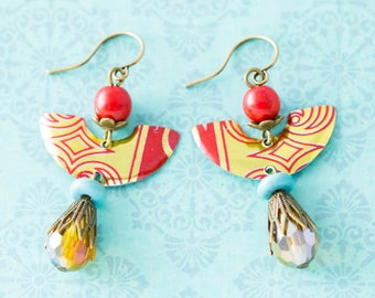 Red, Gold and Turquoise Half Circle Tin Earrings with Red Coral Beads and Faceted Drop Beads in Antique Brass, Vintage Tin Jewelry.