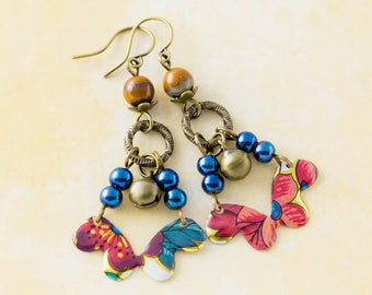 Colorful Bohemian Vintage Tin Bell Earrings with Cobalt Blue Metallic Beads and Stone Beads, Antique Brass Bell Charms, Boho Jewelry..