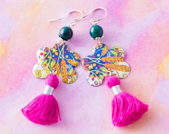 Pink Tassel Earrings with Colorful Vintage Tin and Dark Teal Stone Beads, Bohemian Chic Jewelry.