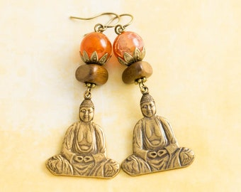 Meditating Buddha Earrings with Fire Agate Beads and Wooden Beads in Antique Brass, Buddha Jewelry