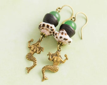 Mermaid Earrings with Shell and Stone Beads and Vintage Wood Bead Caps, Nautical Jewelry, Fantasy Jewelry
