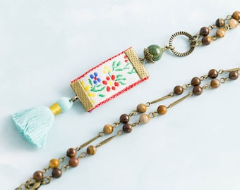 Vintage Embroidered Ribbon Charm Necklace with Earthy Rosary Chain with Stone Beads and Baby Blue Tassel, Tassel Necklace, Fiber Jewelry