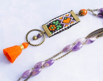 Vintage Embroidered Ribbon Charm Necklace with Amethyst Bead Rosary Chain with Orange Tassel, Tassel Necklace, Fiber Jewelry