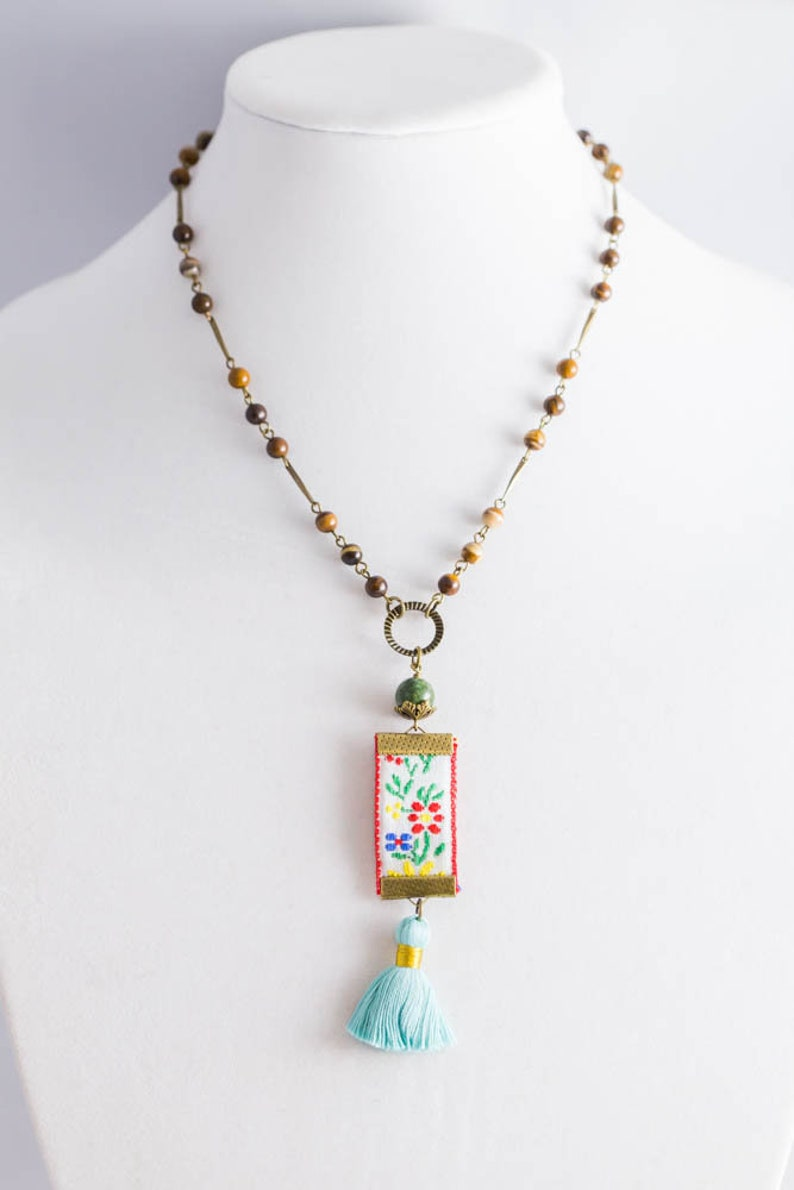 Tassel Necklace Fiber Jewelry Vintage Embroidered Ribbon Charm Necklace with Earthy Rosary Chain with Stone Beads and Baby Blue Tassel