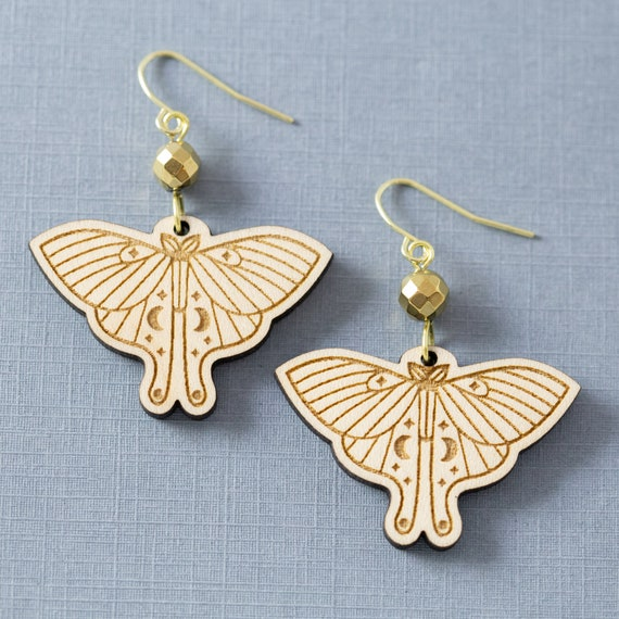Luna Moon Moth Earrings, Witchy Jewelry