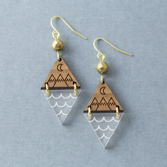 Pacific Northwest Mountain Earrings, Wood and Acrylic Jewelry