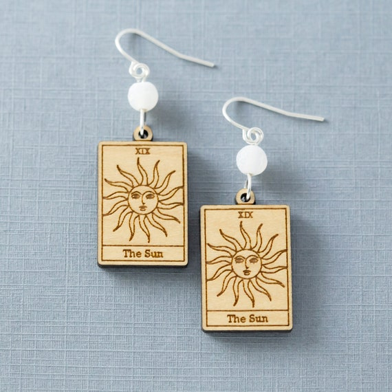 Tarot Card Earrings, Sun Tarot Card Earrings, Fortune Teller Earrings, Psychic Earrings, Witch Earrings, Sun Earrings, Tarot Card Jewelry