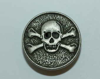 "Skull & Crossbones Button. Antique Silver Sz 1"" (25mm)"