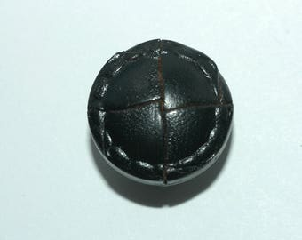 """Black Leather Button. Woven with Stitched Rim. Size 3/4"""" (20mm)"""