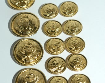 Blazer Button Set. Brass Eagle Crest Buttons. 4 Front and 10 Sleeve
