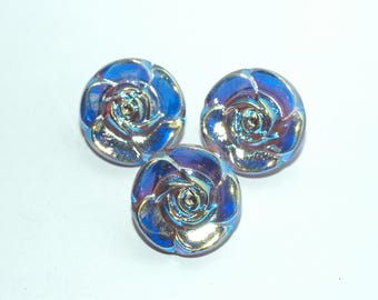 """Lavender Glass Flower Buttons. Size 3/4"""" (20mm). Set of 3"""