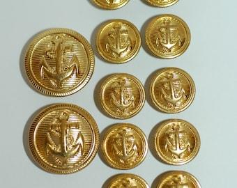 "Blazer Button Set - Set 2 pieces Size 3/4"" and 10 pieces Size 5/8"" Gold Anchor Buttons"