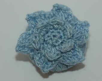 """Lt. Blue Crochet Flower Button Sz 1 1/8"""""""