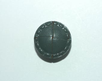 """Grey Leather Button. Woven with Stitched Rim. Size 3/4"""""""