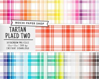 Tartan Plaid Digital Paper, 50 Rainbow Plaid Patterns, Tartan Scrapbook, Colorful Plaid Download, Plaid Graphics, Plaid PNG