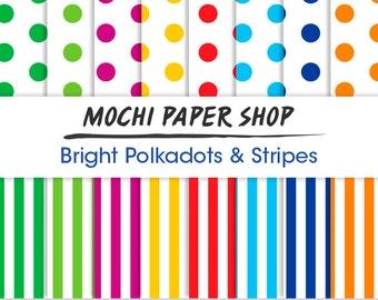 Rainbow Polka Dot Digital Paper, Stripes Pattern, Colorful Digital Polka Dot Paper Download, Digital Scrapbooking, Polka Dot PNG Files