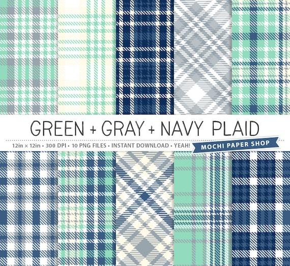 Navy Blue Plaid Digital Paper Green Plaid Digital Background Etsy