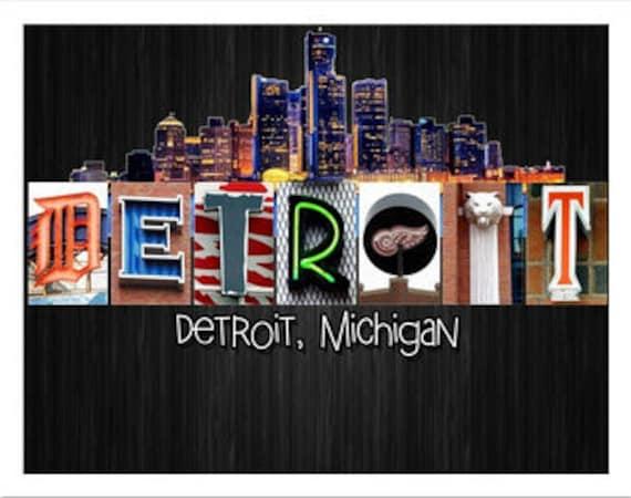 detroit word art poster board 11x14 16x20 20x30 sizes etsy