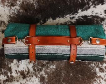 Genuine Leather BLANKET CARRIER - Handmade