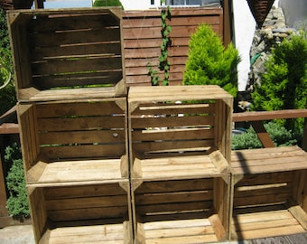 6 x vintage rustic european wooden apple crates ideal storage boxes box display crate bookshelf idea - Using Crates As Bookshelves