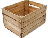 EUROPEAN APPLE CRATE - Vintage Wooden Apple Crate, Rustic Wood Box, Wedding Decor, Farmhouse Log Storage, Cottage Living, Photo Prop