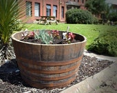 2 x WHISKY OAK BARRELS Planter Pot - half cut Wooden Keg Barrels ideal for the garden