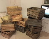 Vintage Wooden Apple Crate, Rustic Wood Box, Wedding Decor, Farmhouse Log Storage, Cottage Living, Photo Prop