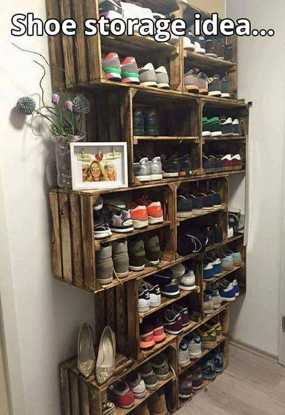 Étagère à chaussures-européenne Vintage en Bois Apple Box fruit crate Rustique Shabby Chic