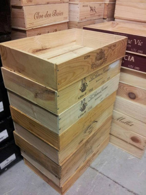 Details About 1 X Half Size Flat Genuine French Wooden Wine Crate Box Hamper Storage Planter