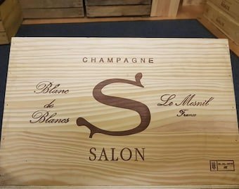 CHAMPAGNE SALON Le Mesnil - Empty Wooden box / crate - Large box for storage