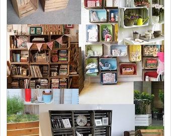 1 x Vintage Wooden Apple Crate, Rustic Wood Box, Wedding Decor, Farmhouse Log Storage, Cottage Living, Photo Prop