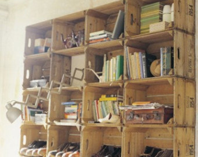 Wooden vintage apple storage crate pear bushel box rustic shabby chic - Deco bibliotheque originale ...