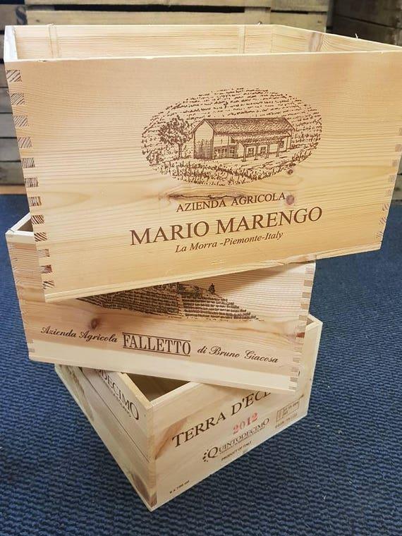 3 x boîtes à vin Français / espagnols / portugais / argentins utilisé des caisses en bois - shabby chic de stockage des solutions paniers