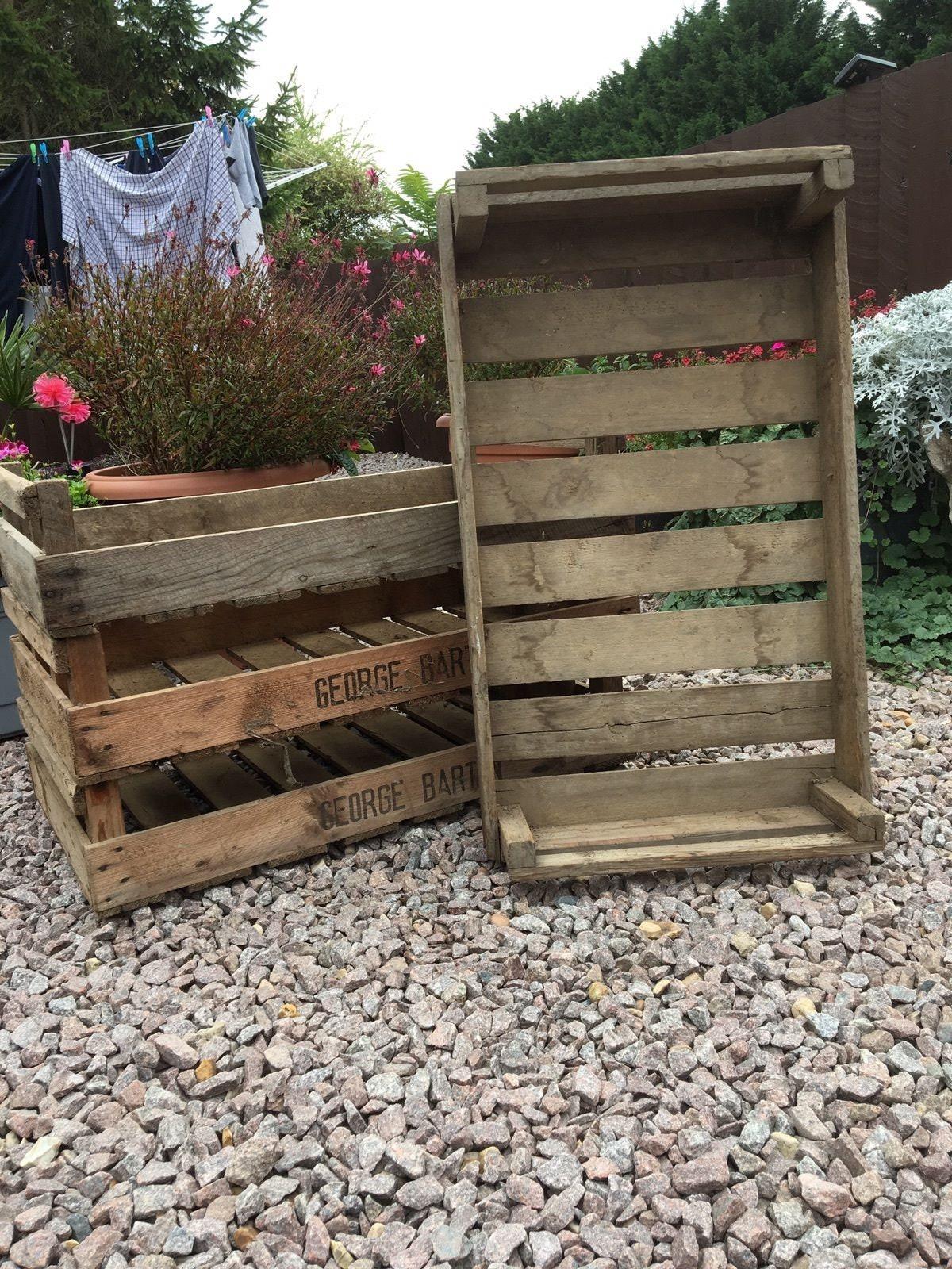 6 x CHITTING légumes plateaux plateaux plateaux - Vintage Antique ferme rustique en bois plateau pomme boîte de boisseau de caisse de pommes de terre dc9ed6