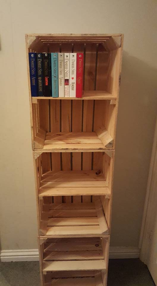 3 X APPLE CRATES With SHELF   Ideal Shelving Display / Bookcase / Storage  Solution / Dvd Cabinet   Handmade Apple Crate , Bushel Box
