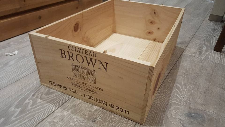 Wooden wine case Display The Uks Largest Supplier On Used Wine Boxes And Vintage Apple Crates Chateau Brown 12 Bottle Size Traditional French Wooden Wine