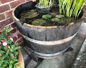 Wine OAK BARREL Planter Pot - half cut Wooden Keg Barrels ideal for the garden