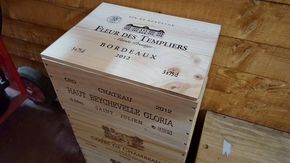FRENCH WOODEN WINE Box with lid Christmas Hamper Gift box 6 bottle size Crate  Storage unit