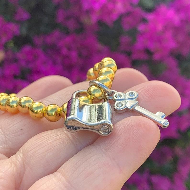 Gold Beaded Charm Bracelet Silver LOCK /& KEY Love Charms Repurposed Jewelry