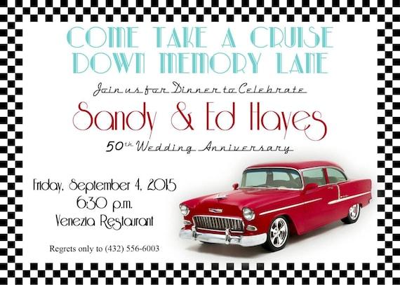 Classic Car Invitations Etsy - Classic car invitations