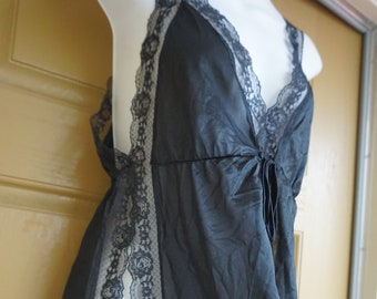 e7fe33846f Vintage 1980s 80s Lingerie Nightgown Negligee size one size large lace high  slit sheer V neck night shirt