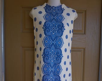 Vintage 1960s or 70s floral sleeveless dress small 60s retro mod twiggy