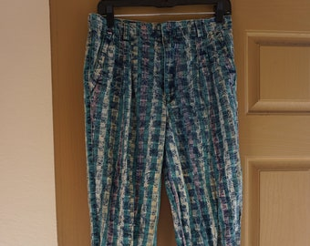 392cd9f538654 Vintage mens size small 30 X 30 pants with radical print B   R 80s 90s  surfer California beach by fashion club